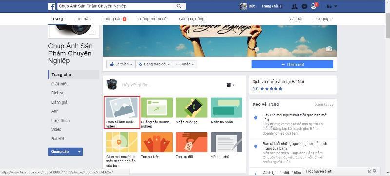 Truy cập vào Fanpage các bạn cần đăng nội dung, ấn vào chia sẻ ảnh hoặc video
