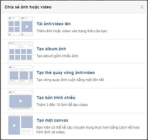 Tạo Album ảnh để bắt đầu quá trình đăng Video và hình ảnh cùng lúc nên Fanpage
