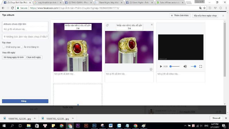 Nếu bạn muốn 1 video và 3 ảnh dưới thì kéo video ở ô đầu tiên sau đó tiếp tục là 3 ảnh sau