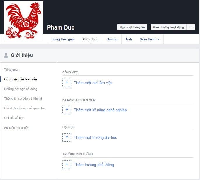 Bổ xung thông tin cá nhân vào tài khoản Facebook của bạn