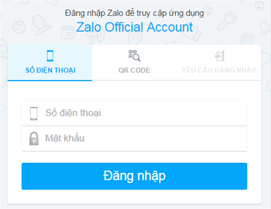 Đăng nhập bằng số điện thoại và mật khẩu đã đăng ký Zalo