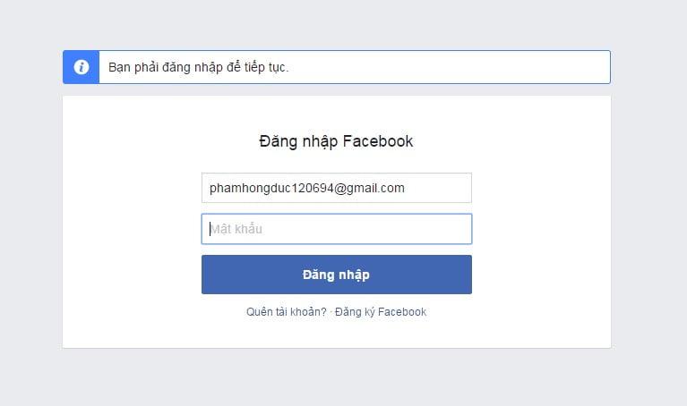 Đăng nhập và tiến hành xóa tài khoản Facebook