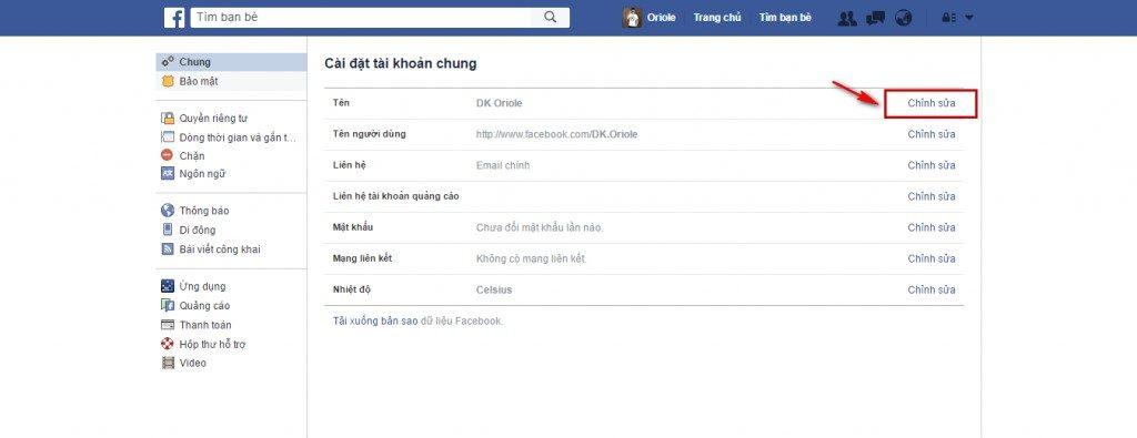 Hướng dẫn đổi tên Facebook khi đã đủ 60 ngày 2