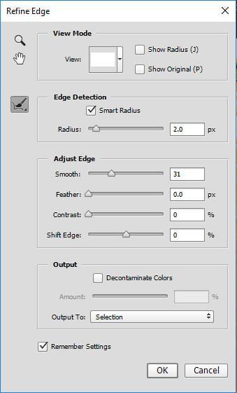 Các tùy chỉnh trong Refine Edge