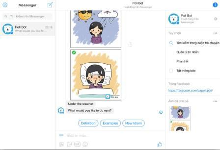Học tiếng anh trên Facebook Messenger qua hình ảnh