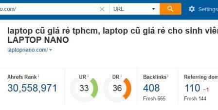 Chỉ số Backlink và Domain của laptopcusaigon