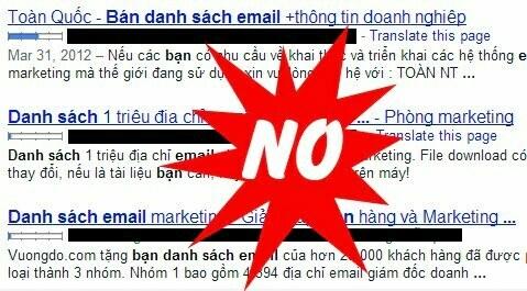 không nên mua lại danh sách email