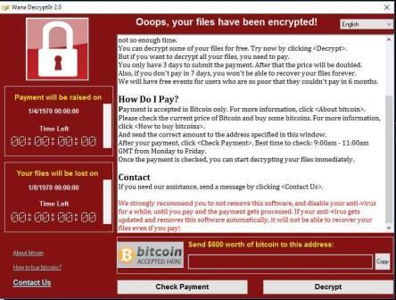 Máy tính bị nhiễm WannaCry