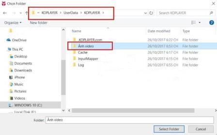 Bước 3: TạChọn Folder hình ảnh và video muốn đăng tảio Folder chứ ảnh và video muốn đăng tải.