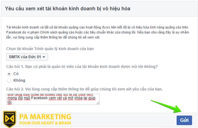 Mô tả khái quát về chiến dịch quảng cáo bạn đang thực hiện để mở tài khoản quảng cáo Facebook bị vô hiệu hóa.