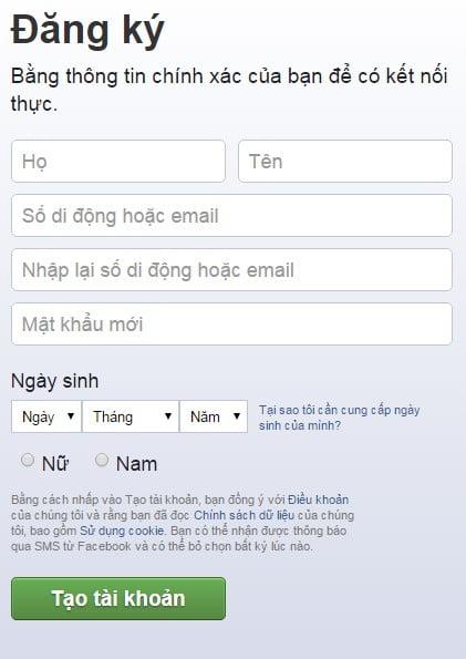 Khung đăng ký Facebook