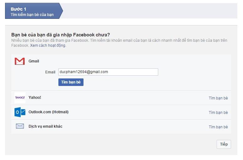 Tìm bạn bè đã sử dung Facebook qua email