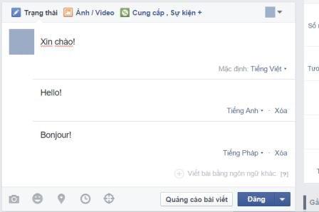 Đăng bài viết trên Facebook bằng nhiều ngôn ngữ mới nhất