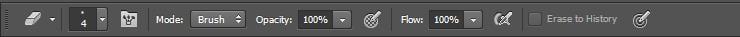 Công cụ Eraser tool trên thanh Option