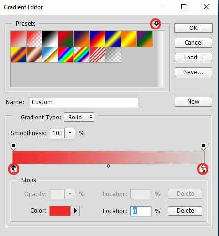 Bảng Gradient Editor