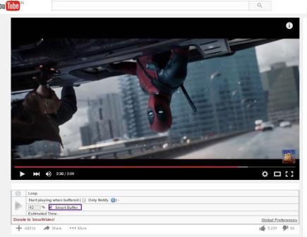 Sử dụng tùy chọn Smart Buffer Box để tăng tốc độ xem video Youtube