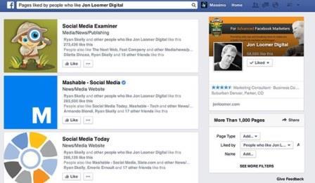 Bộ lọc tìm kiếm Facebook thông qua sở thích, hình ảnh