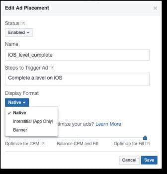 Cấu hình vị trí quảng cáo với Facebook Audience Network