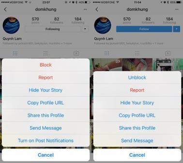 Chặn 1 tài khoản trên Instagram