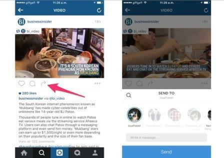 Nhắn tin qua tính năng Instagram Direct