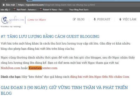Nội dung chi tiết bài viết đi Backlink