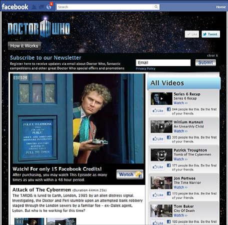 xem-phim cua-doctor-who-thanh-toan-bang-facebook-credits