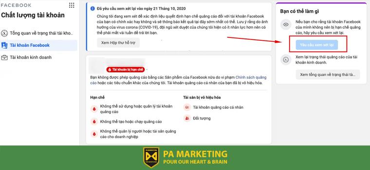 Yêu cầu xem xét lại tài khoản quảng cáo Facebook bị vô hiệu hóa.
