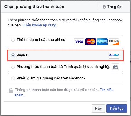 Thêm phương thức thanh toán cho tài khoản chạy quảng cáo Facebook.